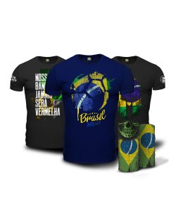 Kit Brasil 2018 Copa do Mundo 3 Camisetas + Face Armor