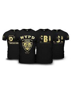 Kit 4 Camisetas Militares Pretas Masculinas The Police
