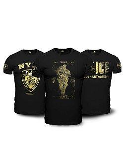 Kit  3 Camisetas Militares Pretas em Algodão NYPD