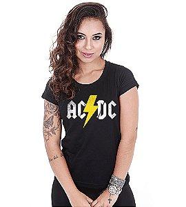 Camiseta Baby Look Feminina Banda de Rock ACDC