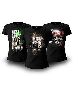 Kit Brasil Acima de Tudo 03 Camisetas Baby Look Feminina
