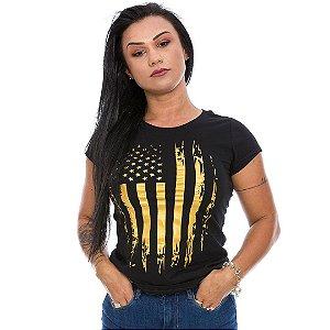 Camiseta Militar Baby Look Feminina Eua Defence Gold Line