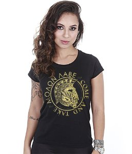 Camiseta Militar Baby Look Feminina Molon Labe Gold Line