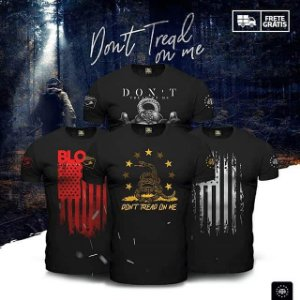 Kit  4 Camisetas Militares Pretas Masculinas Don't Tread On Me