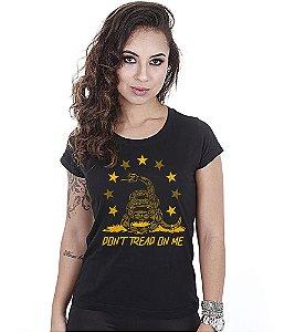 Camiseta Militar Baby Look Feminina Don't Tread On Me Snake