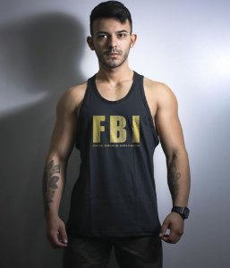 Camiseta Regata Militar FBI Gold Line