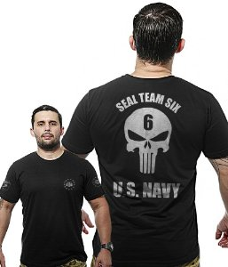 Camiseta Militar Wide Back Punisher Seal Team Six US Navy