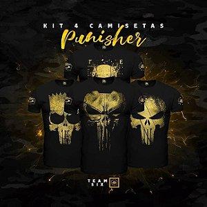 Kit 4 Camisetas Masculinas Militares Gold Line Justiceiro