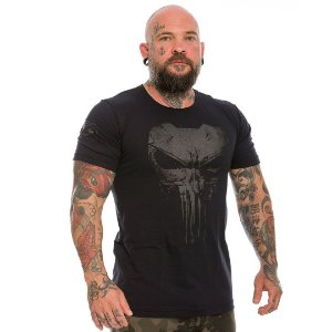 Camiseta Militar Masculina Dark Line Punisher Plate