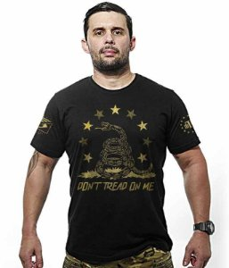 Camiseta Militar Don't Tread On Me Snake Gold Line
