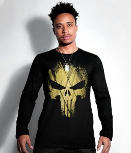 Camiseta Manga Longa The Punisher Gold Line