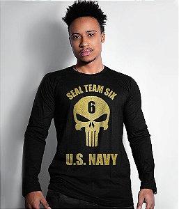 Camiseta Manga Longa Punisher Seal Team Six US Navy Gold Line