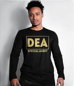 Camiseta Manga Longa DEA Special Agent Gold Line