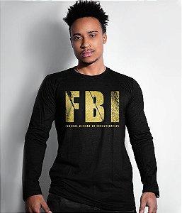 Camiseta Militar Manga Longa FBI Gold Line
