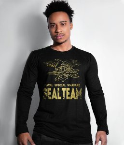 Camiseta Manga Longa Seal Team Navy Seal Gold Line