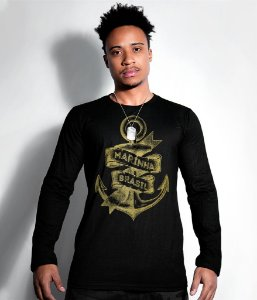 Camiseta Manga Longa Marinha do Brasil Gold Line