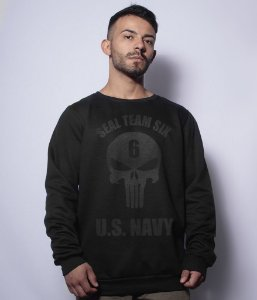 Casaco Básico de Moletom The Punisher Seal Team Six US NAVY Dark Line
