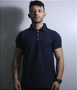 Camiseta Gola Polo Masculina Lisa Azul Team Six