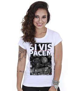 Camiseta Militar Baby Look Feminina GUFZ6 Si Vis Pacem Para Bellum Soldier
