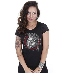Camiseta Militar Baby Look Feminina GUFZ6 Molon Labe Come And Take It