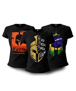 Kit 03 Camisetas Baby Look Feminina Si Vis Pacem