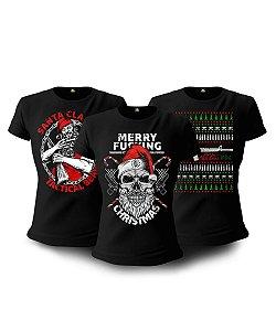 Kit 03 Camisetas Baby Look Feminina Natal Encantado