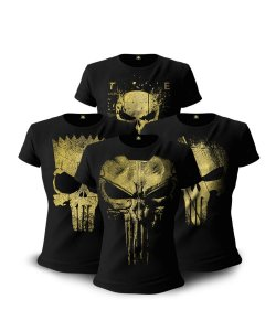 Kit 04 Camisetas Baby Look Feminina Gold line justiceiro