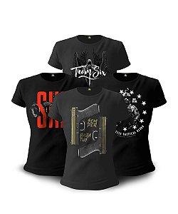Kit 04 Camisetas Baby Look Feminina Concept Line Semper Paratus