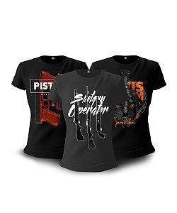 Kit 03 Camisetas Baby Look Feminina GUFZ6 Operator