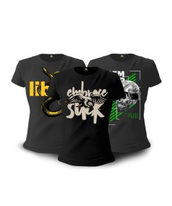Kit 03 Camisetas Baby Look Feminina GUFZ6 Embrace