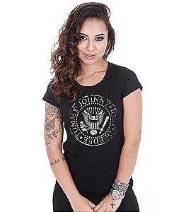 Camiseta Baby Look Feminina Banda de Rock Ramones White