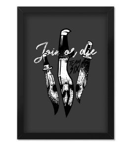 Poster Militar Concept com Moldura Tactical Knife Join Or Die