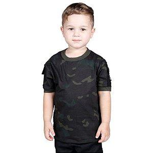 Camiseta Militar T Shirt Ranger Infantil Multicam Black Bélica