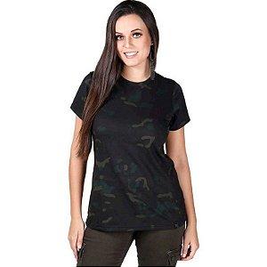 Camiseta Feminina Bélica Soldier Camuflada Multicam Black Manga Curta