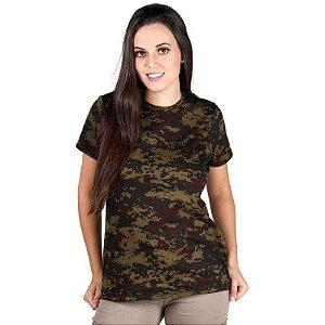 Camiseta Feminina Bélica Soldier Camuflada Argila Manga Curta
