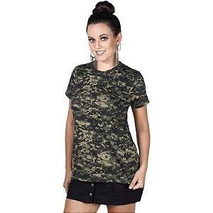 Camiseta Feminina Bélica Soldier Camuflada Pântano Manga Curta