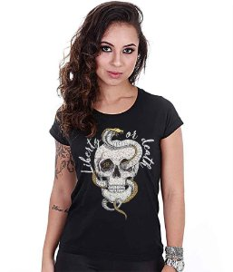 Camiseta Baby Look Feminina Squad T6 Magnata Liberty Or Death