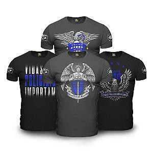 Kit 4 Camisetas Militares Masculinas com Estampa Police Live Matter Team Six Vidas Policiais Importam
