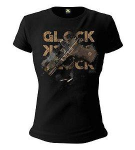 Camiseta Baby Look Feminina Squad T6 Instrutor Fritz Glock Multicam