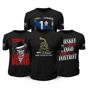 Kit 4 Camisetas Militares Tactical Fritz Beard Risk