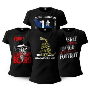 Kit 4 Camisetas Femininas Baby Look Militares Tactical Fritz Beard Risk