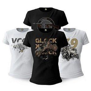 Kit 4 Camisetas Femininas Baby Look Militares Tactical Fritz Vintage Gun