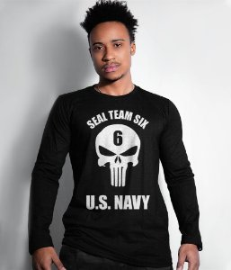Camiseta Manga Longa Punisher Seal Team Six US Navy