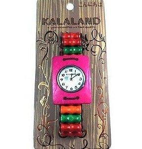 Relógio Ecológico feito em madeira com detalhes de casca de coco