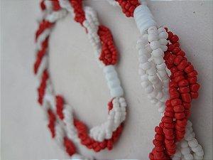 Brajá - 6 Fios - Opaco - Branco e Vermelho