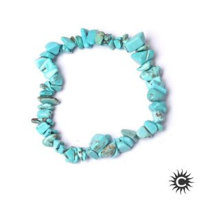 Pulseira - Pedra Cascalho Turquesa