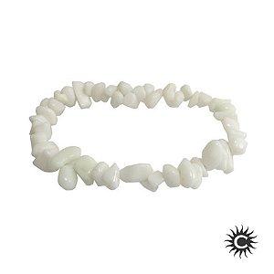 Pulseira - Pedra Cascalho Jade Branco