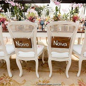 Par de plaquinhas retangulares pequenas para cadeira da Noiva e do Noivo