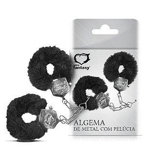 ALGEMA DE METAL COM PELÚCIA - PRETA