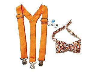 Kit suspensório + gravata borboleta - laranja